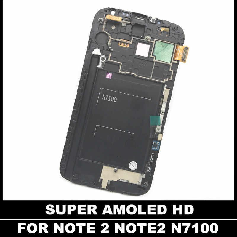 سوبر AMOLED LCD قطع غيار سامسونج غالاكسي Note2 ملاحظة 2 N7100 شاشات LCD شاشة عرض مع الإطار مجموعة رقمنة اللمس الزجاج