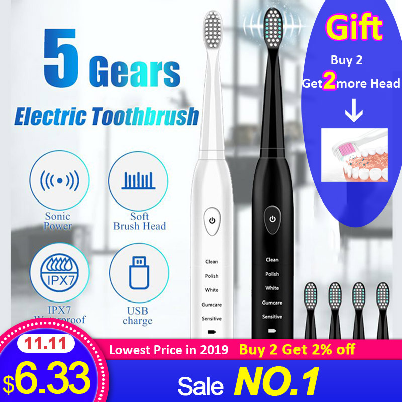 Electric Toothbrush Sonic Wave Rechargeable Smart Chip Head Replaceable Teeth Whitening bamboo Tooth brush