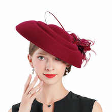Autumn winter women hats wedding Fedoras Vintage girls red flower wool felt hat Top church Royal Banquet party