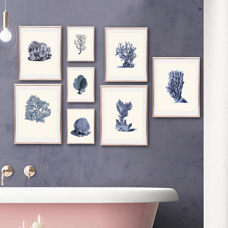 Navy Blue Coral Posters And Prints Sea Marine Life Vintage Bathroom Wall Art Canvas Painting Wall Pictures For Home Decor