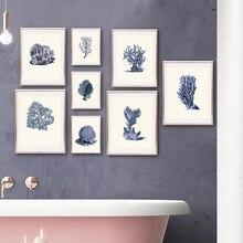 Carteles e impresiones de Coral azul marino Vida Marina Vintage baño pared arte lienzo pintura cuadros de pared para decoración del hogar