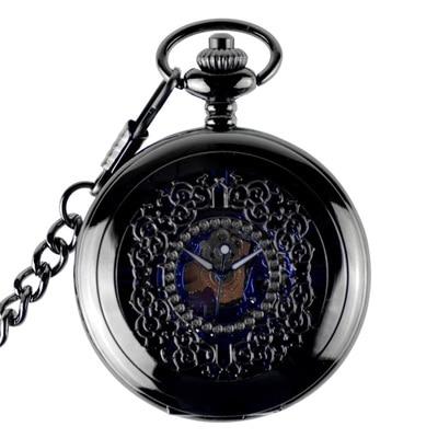 Antique Blue Steampunk Skeleton Mechanical Pocket Watch Men Luxury Brand Necklace Pocket & Fob Watches Chain Male Clock