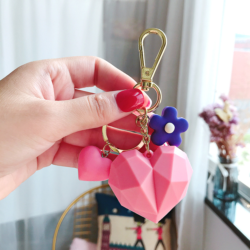 2019 Fashion Cartoon 3D Geometric Love Heart Key chain for Women Pendant PVC Key Chain Female Flower Keyring Jewelry Gift in Key Chains from Jewelry Accessories