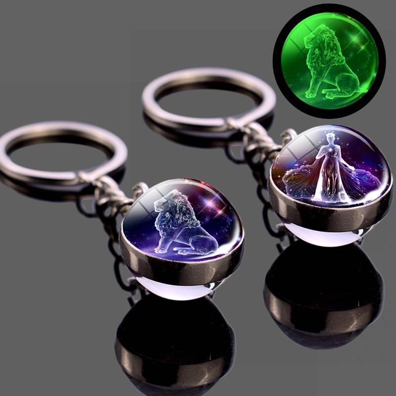 Luminous 12 Constellation Keychain Glowing In The Dark Glass Ball Pendant Zodiac Key Rings Jewelry Birthday Gift Leo Keyrings
