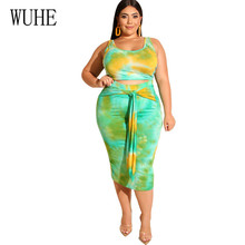 WUHE Tie Dyeing Women Crop Top And Bodycon Skirts Two Piece Sets Sexy Elegant Party Outfits Office Lady Style Large Size 4XL 5XL