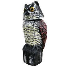 Nova realista pássaro scarer rotação cabeça som coruja prowler chamariz proteção repelente controle de pragas espantalho jardim quintal