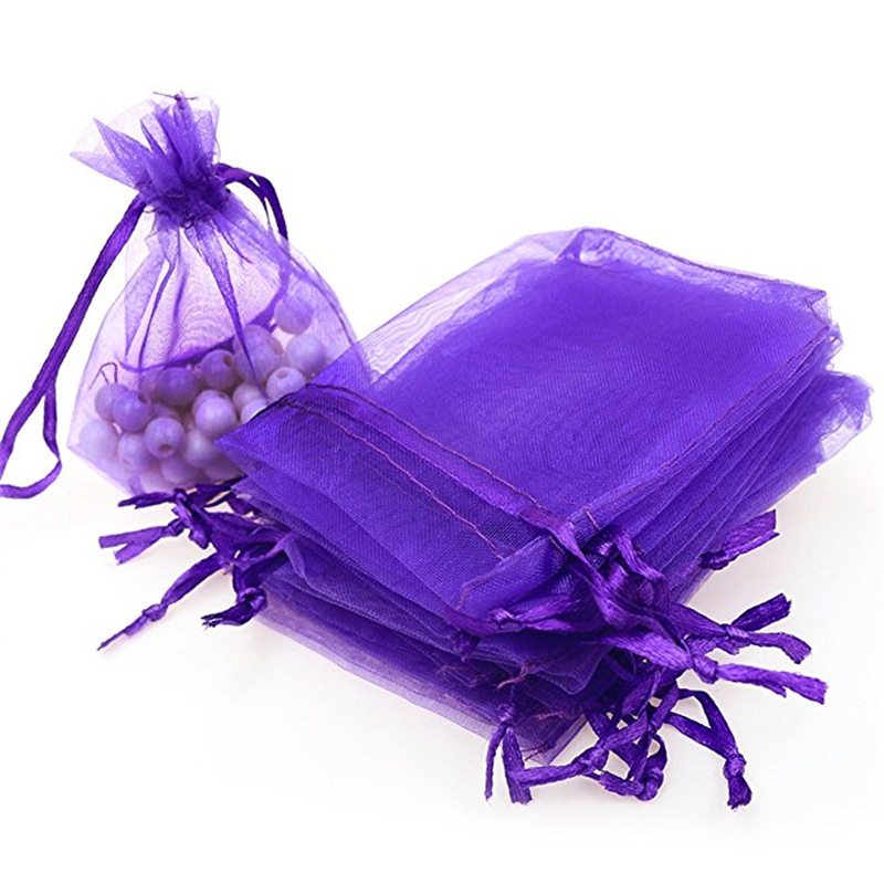 50pcs 7x9 9x12 10x15 13x18CM Purple Organza Gift Bags Jewelry Packaging Bags Wedding Party Decoration Drawable Bags Gift Pouches