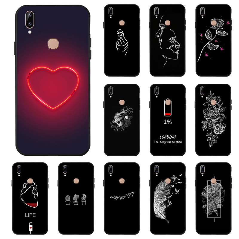 Fashion Black <font><b>3D</b></font> Painted Silicone Soft Phone <font><b>Case</b></font> For <font><b>Vivo</b></font> Y83 Pro Y71 <font><b>Y69</b></font> Y66 Y55 Y53 Back Protective Patterned Cover Bumper image