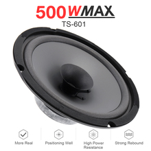 1pcs 6 Inch 12V 500W Black Durable Car HiFi Coaxial Speaker