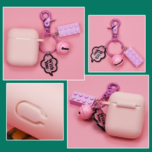 Buy Airpods1/2 Generation Universal Protective Cover Wireless Bluetooth Headset Silicone Protective Shell with Pendant Pink directly from merchant!