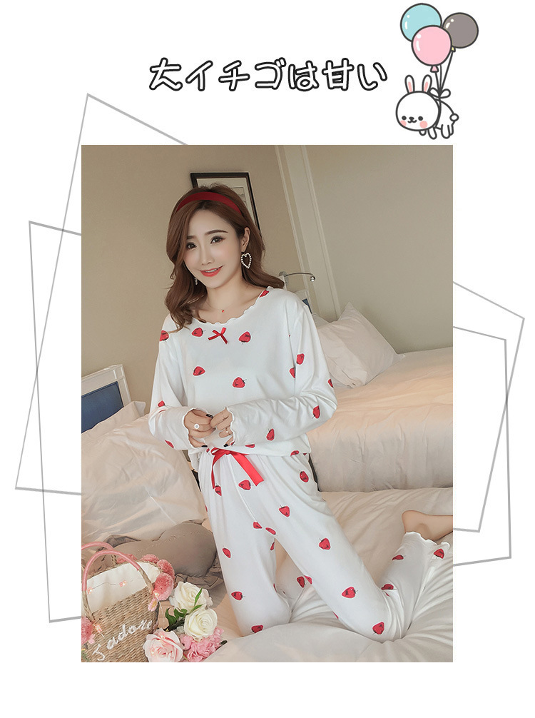 Autumn Women Cotton Pajamas Sets 2 Pcs Cartoon Printing Pijama Pyjamas Long Sleeve Bowknot Pyjama Sleepwear Sleep Set 68