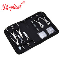 free shipping eyeglasses plier set adjust nose pad frame leg lens 7pliers 1 screwdriver 1 screw nut box glasses repair kits