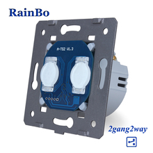 راينبو اللمس التبديل لتقوم بها بنفسك أجزاء 2gang  2way الصانع الجدار التبديل شاشة تعمل باللمس التبديل وحدة AC250V A922