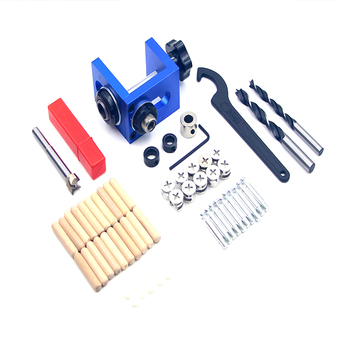 doweling jig Kit set Pocket hole jig kit locator with grip bit wood dowel jig hole punch for angle drill manual  woodwork tools