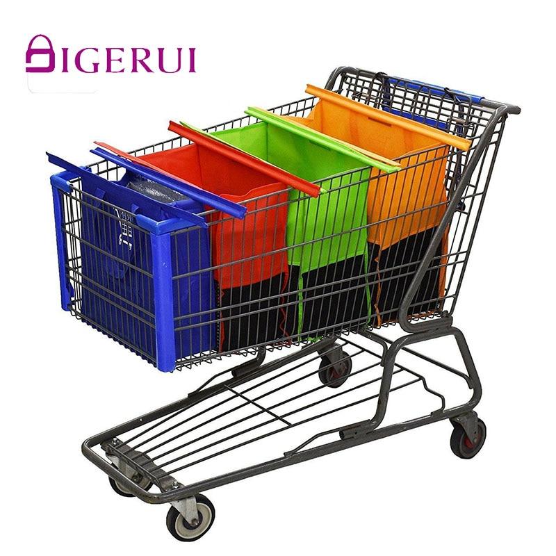 DIGERUI горячая распродажа 4 шт./компл. тележка для покупок сумки складные многоразовые сумки для покупок Экологичные сумки для супермаркетов ...
