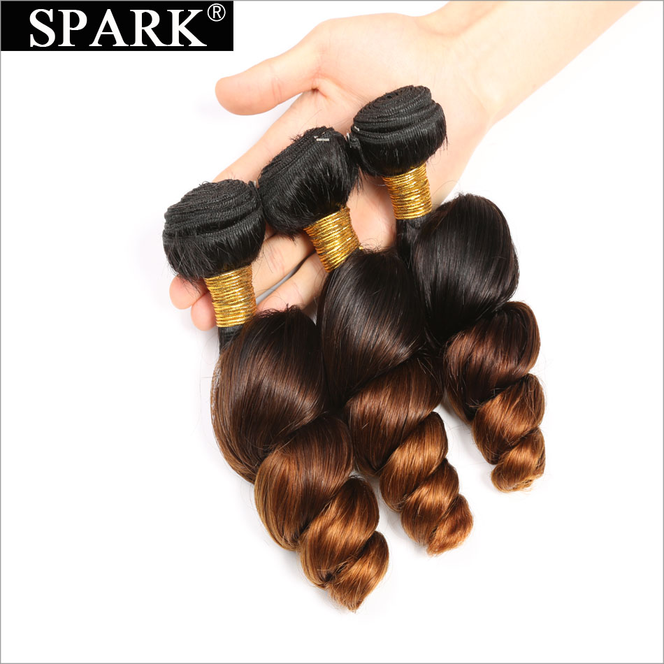 Spark Ombre Brazilian Loose Wave Bundles with Closure Free Part Remy Hair Extension 1B/4/30 Human Hair Bundle with Lace Closure 1