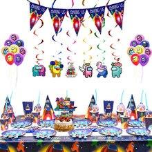 Entre nós tema conjunto de utensílios de mesa látex balão jogo banner bolo topper feliz aniversário festa crianças chuveiro favorito decoração adulto