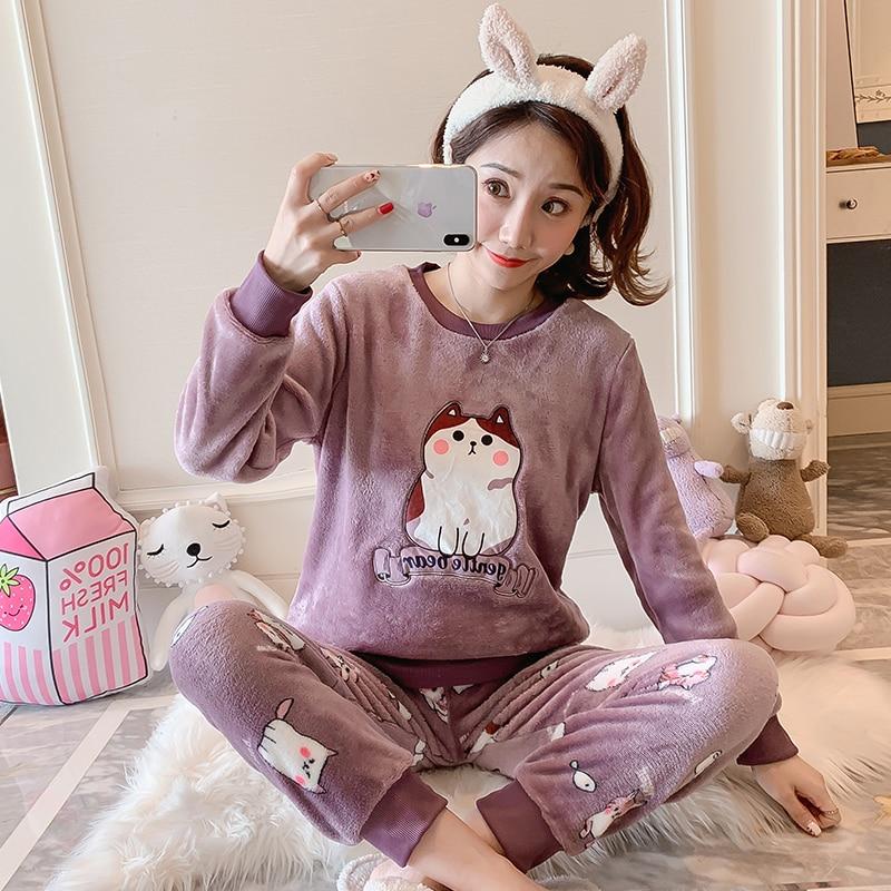 New Women Gift Adult Flannel Pajamas Sets Winter CartoonThick Warm Flannel Women Pyjama Sets Cute Sleepwear for Ladies Nightwear 78