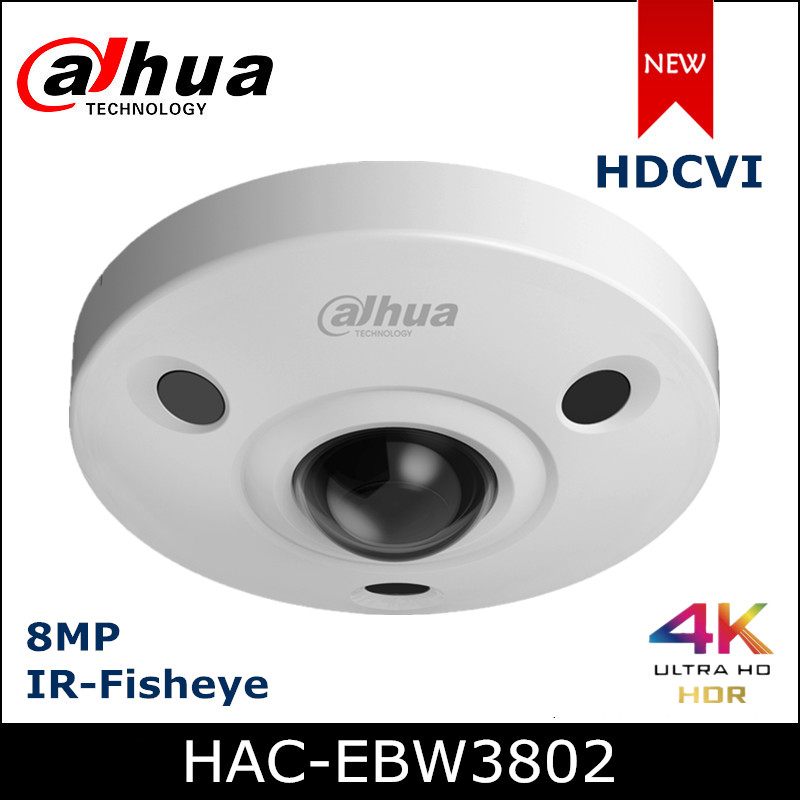 Dahua 4K Panoramic Fisheye Camera 8mp HDCVI Camera Built-in Mic Waterproof IP67 Coaxial Camera Security Camera HAC-EBW3802