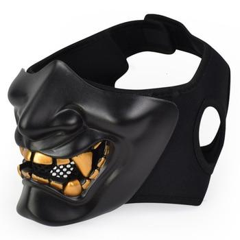 Airsoft Paintball Military Tactical Prajna Hälfte Gesicht Maske Samurai Hannya Horror Schädel Halloween Jagd Schutz Halbe Masken