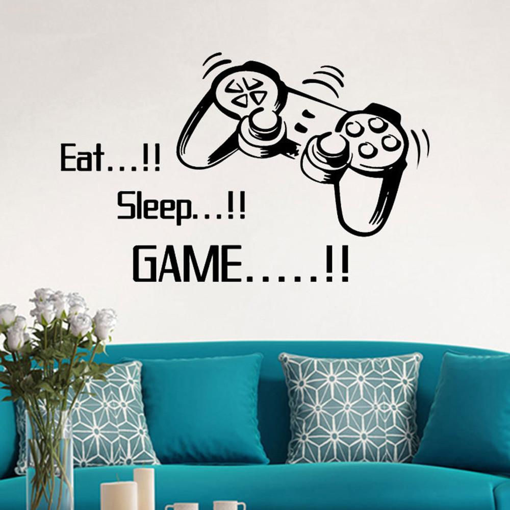 Modern Eat Sleep Game Wall Stickers Boys Bedroom Letter DIY Kids Rooms Decoration Wall Decals Art Home Decor Wall Mural Decals
