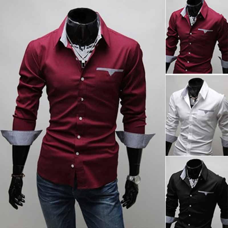 New Dress Shirt Men's Shirt Men's Shirt With A Long Chemise Homme Manche Long Casual Slim Mens Shirts Regular Fit Fight Color