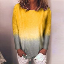 5Xl Fall Rainbow Gradient Print Plus Size Shirt Women Tops O-Neck Long Sleeve Blouse Casual Sexy Patchwork Boho Blusas