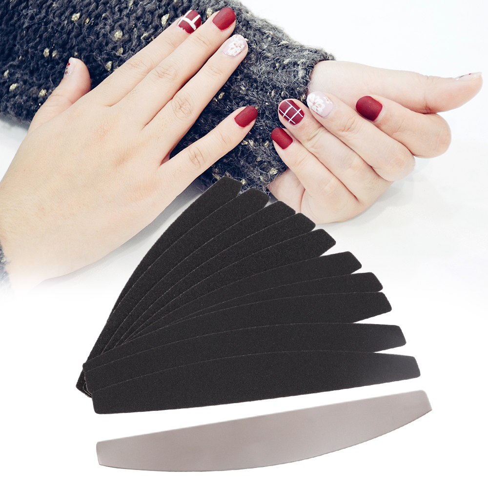 New 10pcs Silver&Black Nail Replacement Sand Straight Type Nail File Nail Polish Sanding Buffer Strips Nail Polishing Manicure