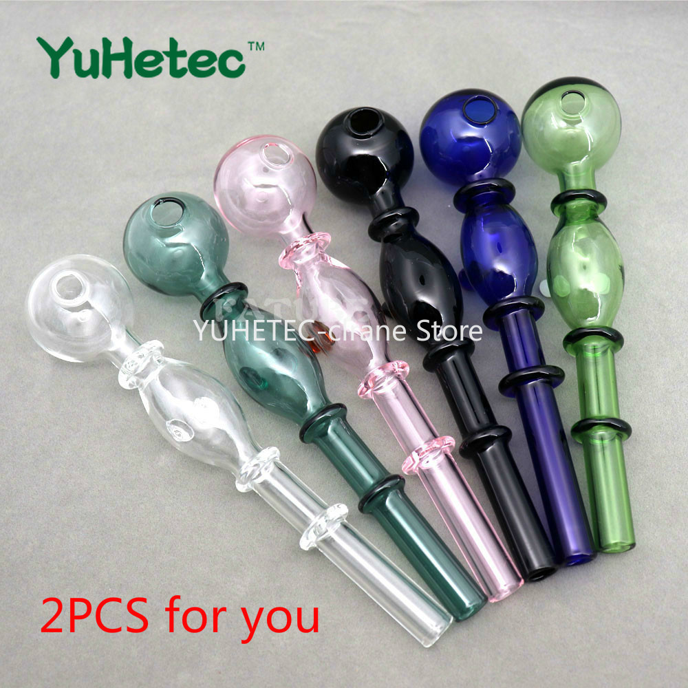YUHETEC 2PCS Holland Styled Pyrex Curved Shisha Glass Tube 140mm