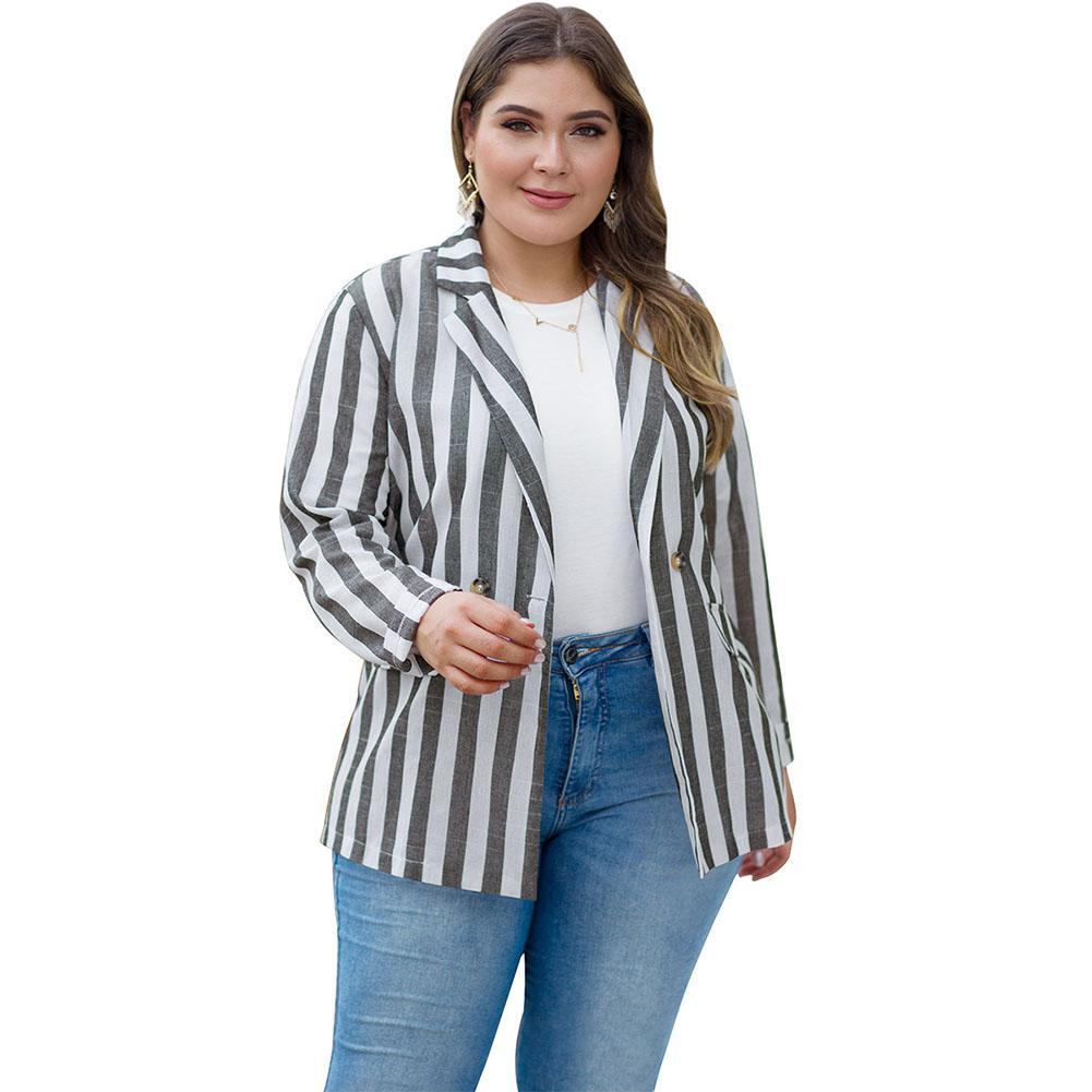 MISSKY Fuller Figure Lady Women Suit Coat Stripe Lapel Combined Color Over Size Loose Casual Coat Spring Autumn Female Tops