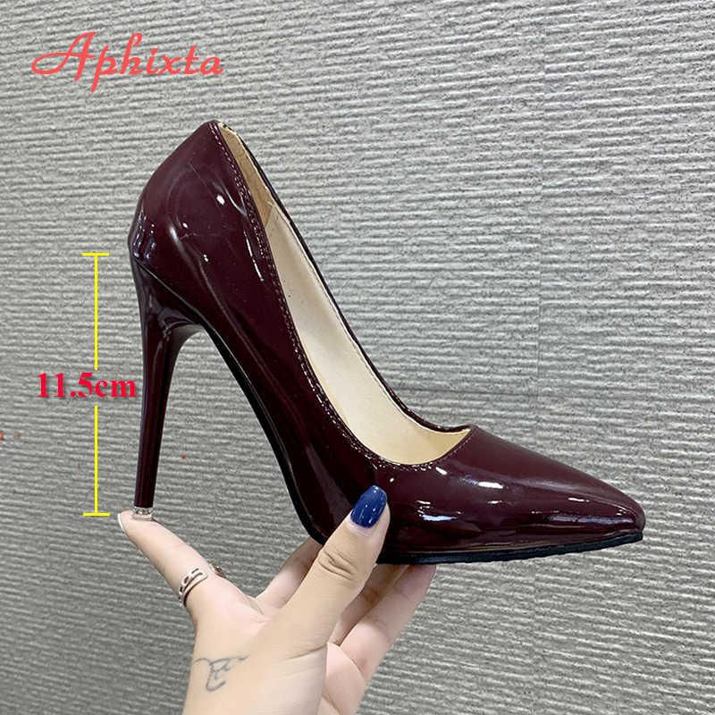 Aphixta 11.5cm ofis ince topuklu kadın ayakkabı pompaları sivri burun Patent deri düğün elbisesi ayakkabı kadın Chaussures Femme
