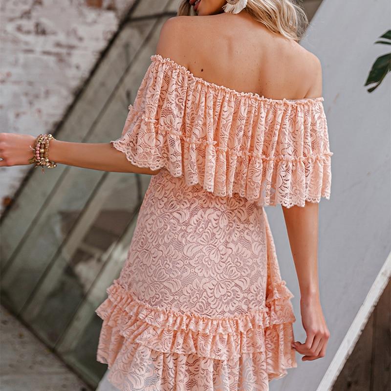 Simplee Solid High Waist One shoulder Summer Women Dress Elegant Lace Ruffled Short Dresses Casual