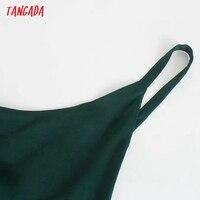 Tangada Women Green Elegant Party Dress Sleeveless Backless 2021 Fashion Lady New Year Dresses 3H845 3