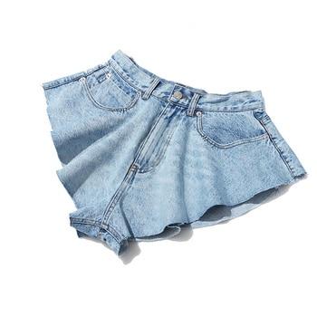 DEAT 2021 new summer fashion mesh clothing light blue denim washed pockets zippers shorts female bottoms WL38605L 10