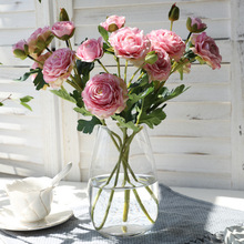 6 heads Rose Pink Silk Peony Artificial Flowers Bouquet Cheap Fake Flowers Home Decor For Wedding Garden Decoration garden wedding home decor artificial flowers rose plantas artificiales para decoracion mariage tuin decoratie fake flowers