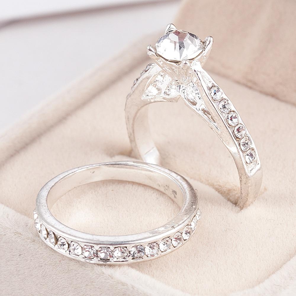 Anillos de Compromiso de cristal para mujer, joyería de boda, anillos de pareja para amantes, 2020