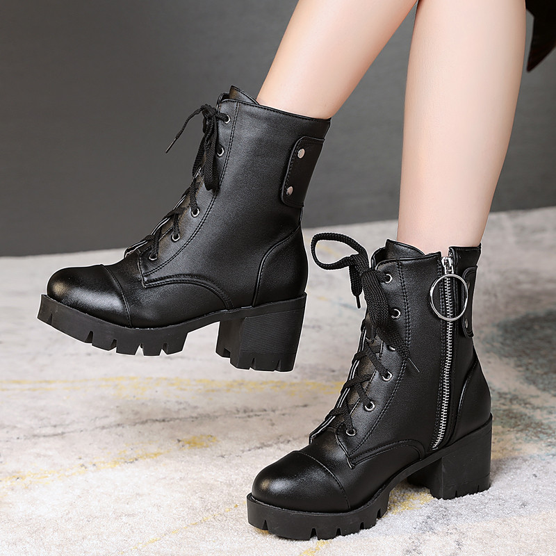 2019 Winter Shoes Block Thick High Heels Ankle Women Boots Winter Lace Up Zipper Cross Tied Black Military Combat Boots