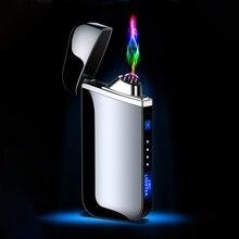 Электрическая зажигалка с подключением к USB пальчиковой печати сенсорная плазменная двойная дуговая Зажигалка ветрозащитные металлически...