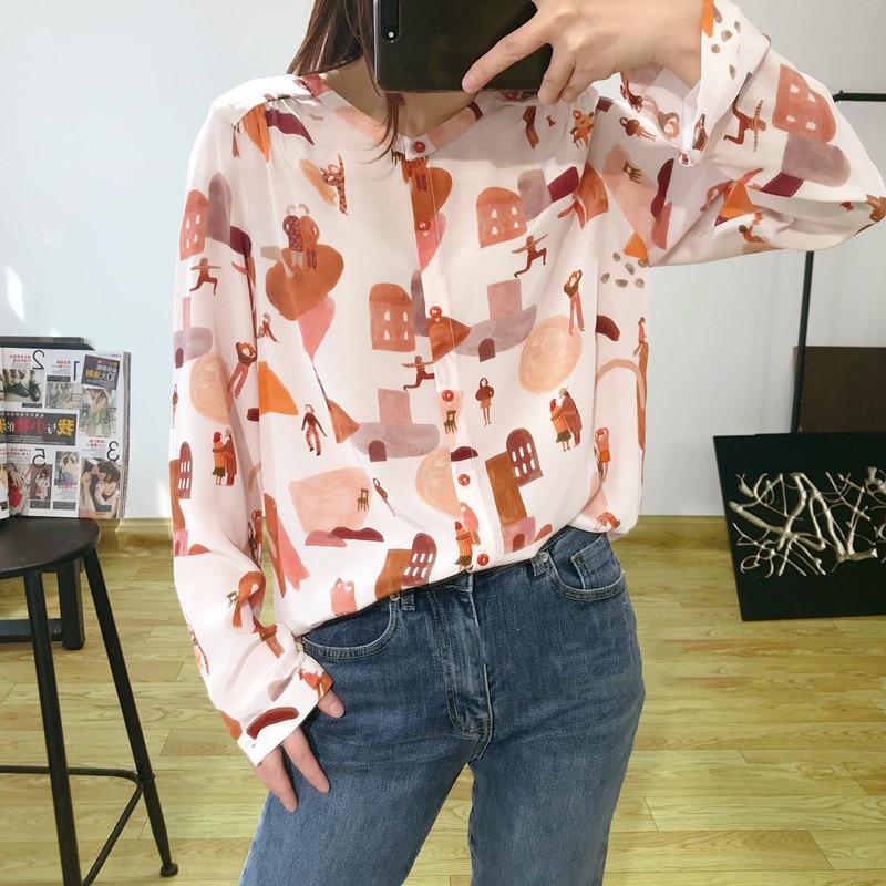 2020 Women's Spring Summer Silk Blouse&Shirt Long Sleeve O Neck Printed Funy Sweet Softwear OL Tops