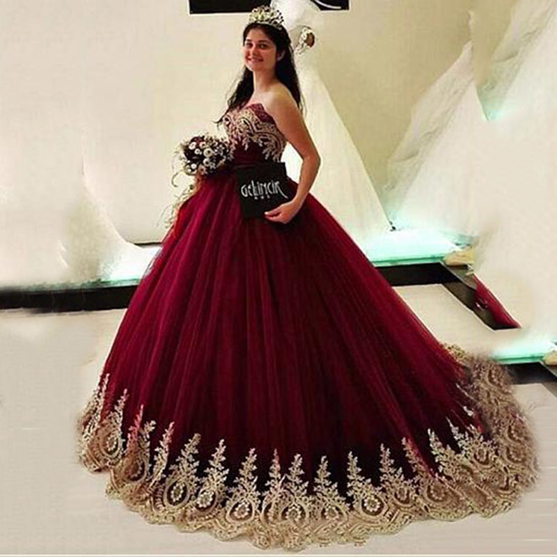 Burgundy Ball Gown Prom Dress Gold Lace Appliques Tull Evening Dresses Long robe soiree 2020 women's kaftan evening Party Gown