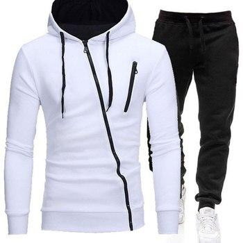 2020 Tracksuit Men Two Pieces Set Hoodies +pants Sweatshirt Zipper Sportswear Causal Mens Clothing Male Hooded Ropa Hombre