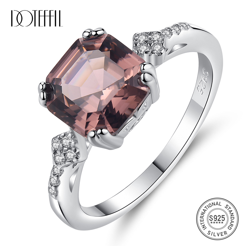 DOTEFFIL Brand 925 Silver Sterling Finger Rings For Women Created Morganite Jewellery Carving S925 Bague Femme De Marque De Luxe