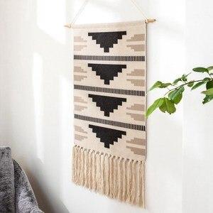 Image 3 - Geometrische Tapestry Hand Geknoopt Kwastje Bruiloft Gedrukt Muur Opknoping Decor Moslim Ornament Boho Home Decor Wandtapijten