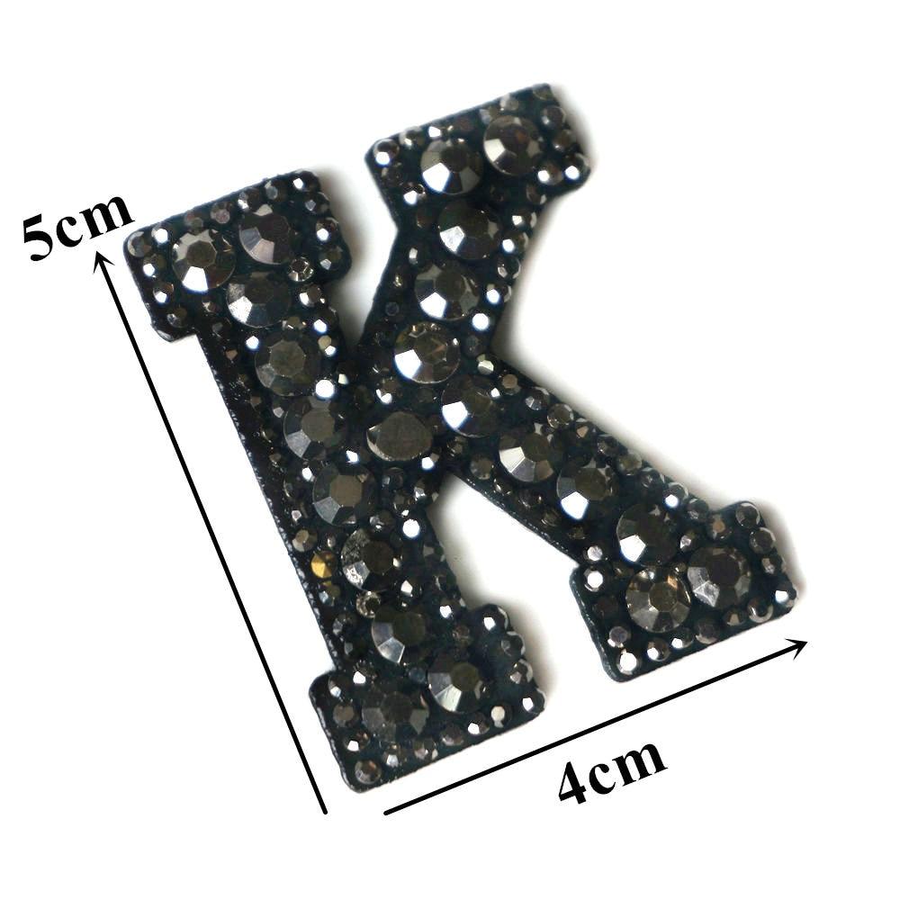 Черные стразы 26 букв алфавита ABC пришить железные нашивки блестящие Значки для имени DIY платье джинсы Аппликации украшения - Цвет: K
