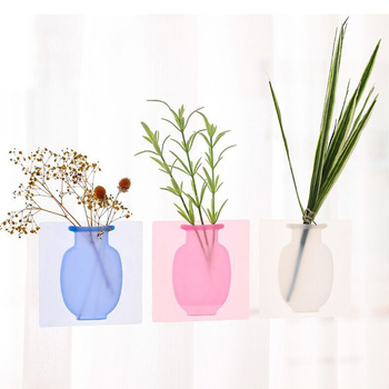 Removable Pots Wall Bottle Glass Stickers Vases Creative Sticky Accessories Silicone Container Body home Flowers DIY Decorations 1