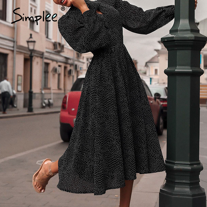 Simplee Elegant polka dot women dress Lantern sleeve office ladies bow tied work long dresses A-line female ladies party dresses