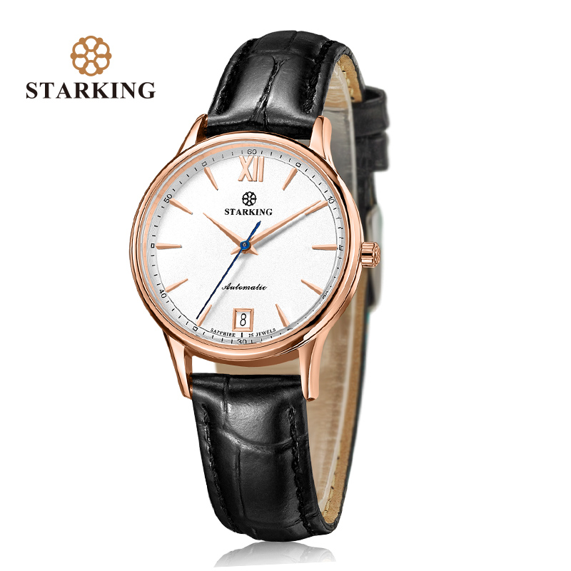 STARKING Watches Women Fashion Watch Stainless Steel Automatic Mechanial Wristwatches Elegant Female Clock Black Ladies Watch