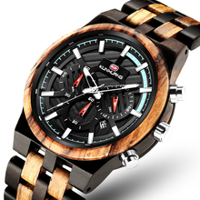 Relogio Masculino Wooden Watch Men Top Brand Luxury Stylish Retro Zebra Chronogr