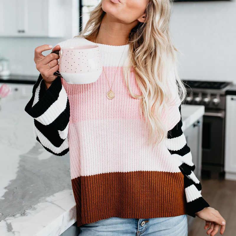Regenbogen streifen pullover jumper strickwaren mode schlank neue frauen O neck pullover und pullover bunten khaki S117