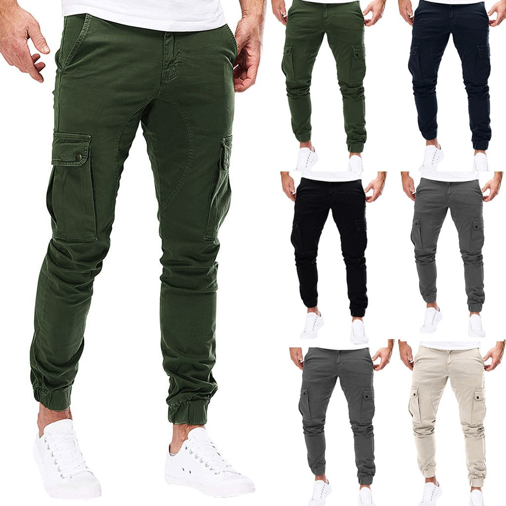 2019 Men Pure Color Pocket Overalls Casual Pocket Sport Work Casual Trouser Pants Dropshipping18 Sweatpants Jogger Sportswear